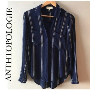 ANTHROPOLOGIE CLOTH & STONE BLUE WHITE STRIPED TOP